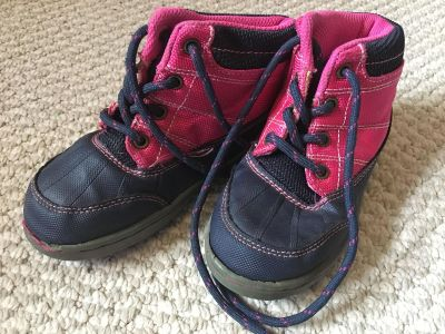 Girls pink and navy hiking boots
