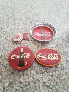 SET OF 4, COCA-COLA MAGNETS & 1 COASTER, EXCELLENT CONDITION, SMOKE FREE HOUSE