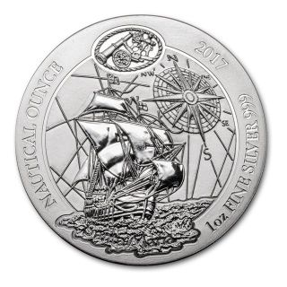 2017 Rwanda 1 oz Silver Nautical Ounce Santa Maria BU