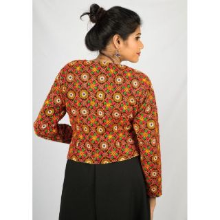 BLACK KURTHI WITH KUTCH WORK JACKET - Jayshops