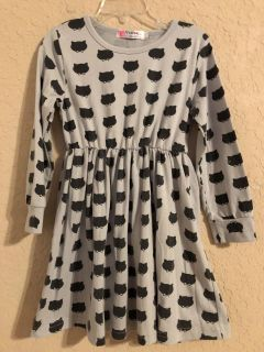 Grey And Black Cat Lightweight Long Sleeve Dress. Size X- Small. Very Nice Condition