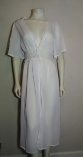 White Sheer Chiffon Gown Embroidered Trim Small