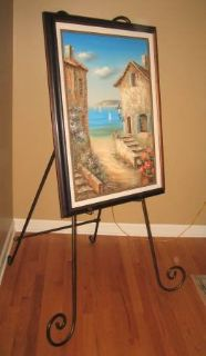 """Large Easel for Framed Picture or Portrait - Wrought Iron - 60"""" High"""