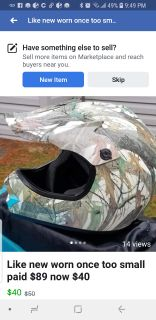Camo youth helmet only worn once but too small for my 10 year old it fits a child between 5 and 8