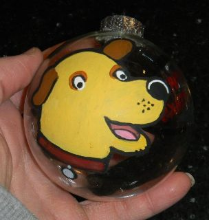 Hand Painted Martha Speaks Glass Christmas Ball Ornament