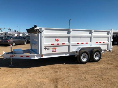 7x16 Low Pro Equipment Dump Trailer,  Excavator Hauler, Heavy Duty Dump, PJ Dump DK162-4 with Oil Ba