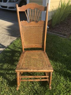 Antique Solid Hardwood Caned Rocking Chair