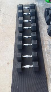 Tsa rubber coated dumbbells 20's 25's 30's 40's 230 lbs $300 Firm or $200 without the 40's layaway available