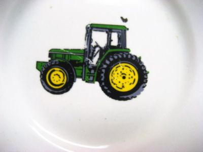 "Vintage Farm John Deere 9"" Plate Tractor Green Gibson Yellow Country Rustic"