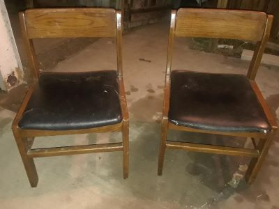 (2) antique wooden chairs