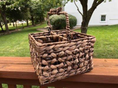 Rustic Flatware Caddy Crafted from Water Hyacinth Reeds