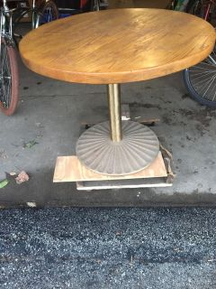 36 Inch Wood Cafe Table with brass base