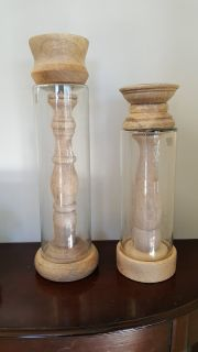 NEW Glass&wood candle pillars