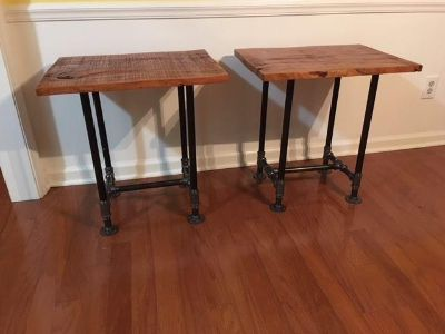 Industrial Cherry Wood on Black Pipe End Tables Each $159