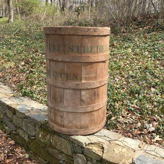 Industrial Wood Barrel Vintage Bin Trash Can