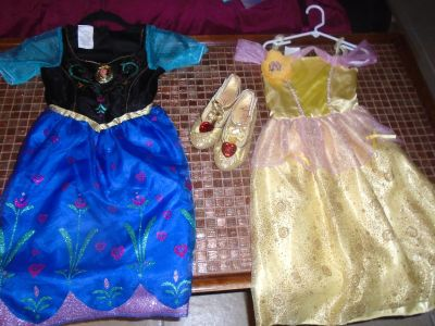 Disney Belle with glitter shoes & Ana Frozen Singing & Light up Gown Size 4-6x