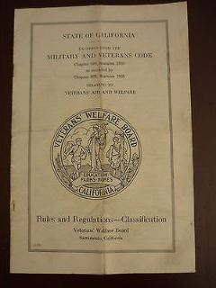 state of california military veterans code veterans welfare board ww1 & wwii
