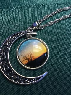 Crescent moon necklace are pictured.new21 inch chain.New