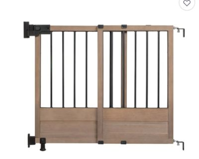 NEW-HomeSafe Rustic Home Top of Stairs Gate in Dark Wood