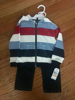 SO CUTE FOR FALL ! 2 PIECE NAUTICA HOODED JACKET & DARK DINUM JEANS ... NEW W/ tags . Size 12 months . Bought at Dillards JACKET HAS A HOOD