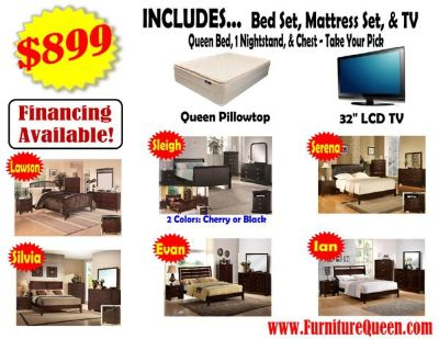 $899, Bedroom Package With LCD TV- SO MANY CHOICES