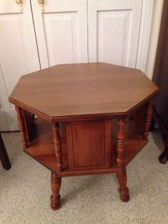 """Wood End Table. 23 x 23"""" Top. 22.5"""" Tall. Good condition."""