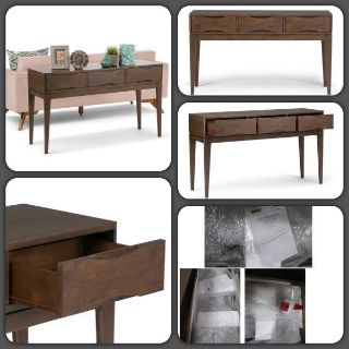Mid century Harper Solid Hardwood Console Sofa Table, Walnut Brown, Retail $307, New In Box