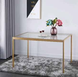 modern Gold leg glass top dining table for 8