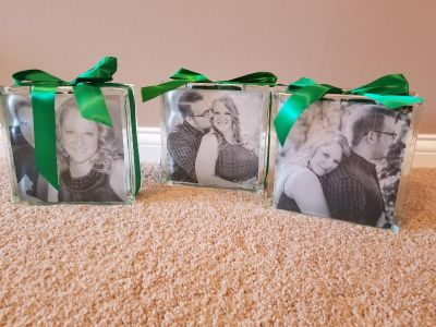 Square Holiday Glass Block (Includes LED Flameless Votives)