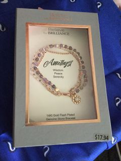 Amethyst bracelet 14 karat gold wire genuine stones in a beautiful box giftable sells 17.98