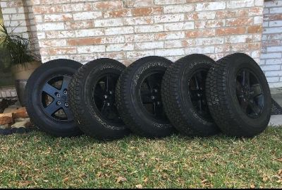 17 Jeep Wrangler Black Wheels Rims Tires (set of 4 and 1 spare)
