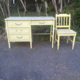 1970 Henry Link Faux Bamboo Writing Desk and Chair