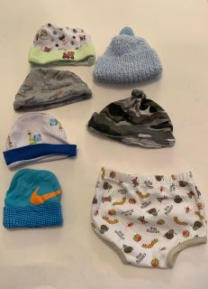 Baby hats and one diaper cover
