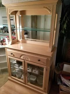 Beautiful China Cabinet Hutch with glass shelves and built-in lighting