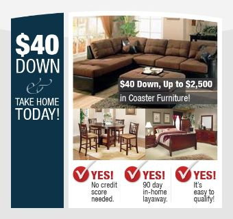 $40, Furniture Sale $40 Take Home Today
