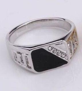 An 18K White Gold Filled & Stainless Steel Men's Zircon Ring