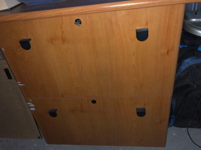 Two drawer file cabinet with keys