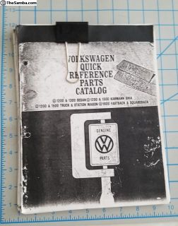 volkswagen quick reference parts catalog.