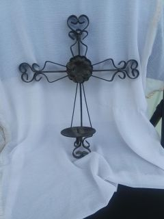 Cross candle holder for wall metal