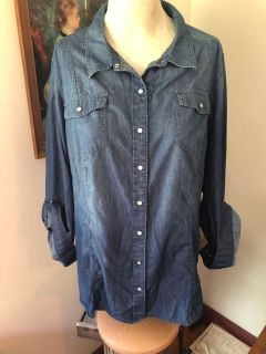 Lane Bryant Sz 2x or 3x ombr soft denim button up top