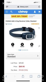 Tone vibration static dog collar used with smartphone app $45