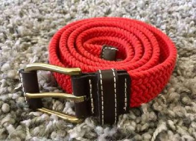 Old Navy Red Braided Cotton With Leather Trim Size Medium Belt