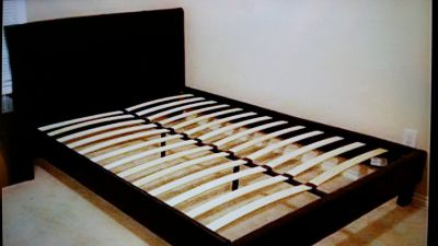 Black Leather Queen Platform Bed