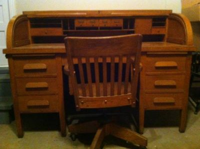 Antique 60 in. Rolltop Desk with Chair