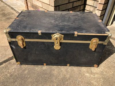 Navy trunk with wheels