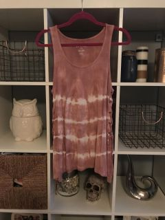 AE American Eagle Soft & Sexy Ribbed Tank Lace Up Sides Mauve/Vintage Rose Color sz Large