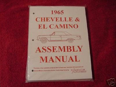 Find 1965 65 CHEVROLET CHEVY CHEVELLE MALIBU EL CAMINO ASSEMBLY MANUAL motorcycle in Cedar Rapids, Iowa, US, for US $25.00