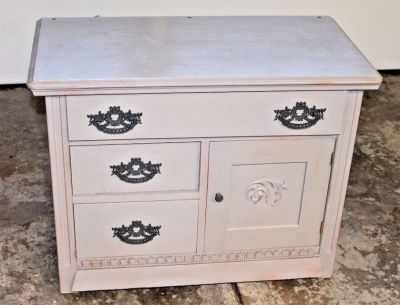 Chalk Painted Vintage Oak Washstand/Small Cabinet, Annie Sloan French Linen
