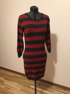 French Connection Gray/Red Stripe Sweater Dress Size Sm