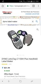 Pre loved DYMO letra tag with 1 extra label